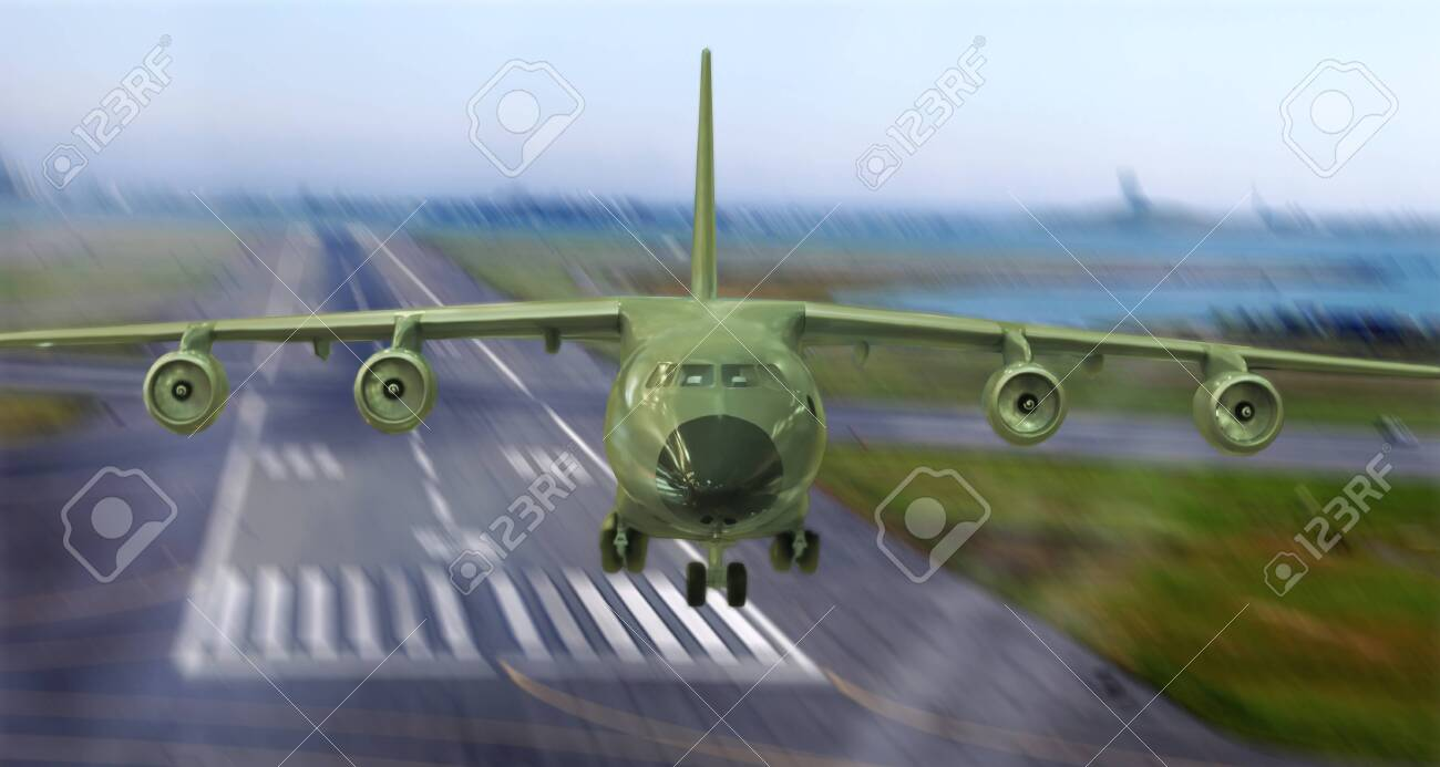 military cargo plane takes off from the runway - 116151280