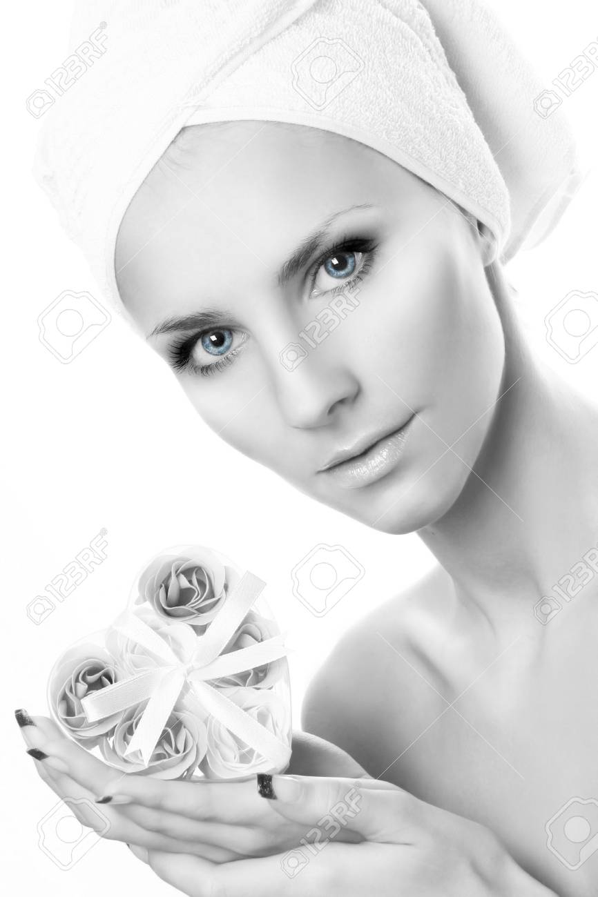 beautiful young woman with soap-flowers Stock Photo - 5533793