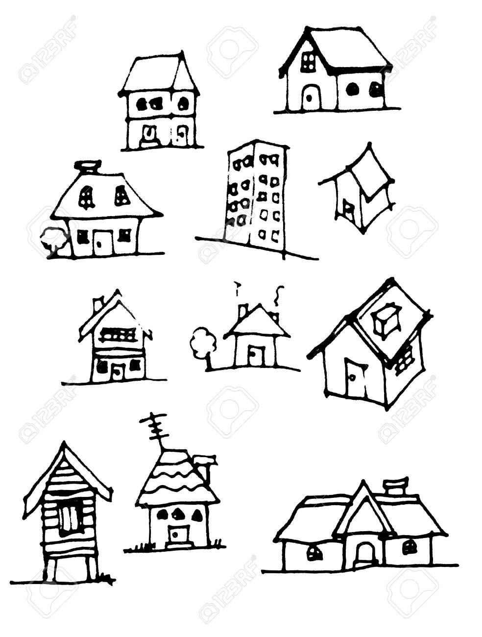 Susse Haus Zeichnen Vektor Zeile Lizenzfrei Nutzbare Vektorgrafiken