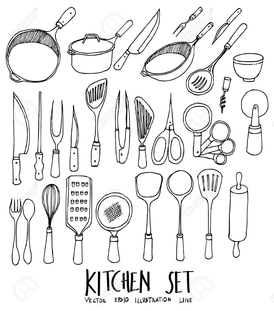 Set of doodle kitchen hand drawn sketch line vector illustration stock vector 83285583