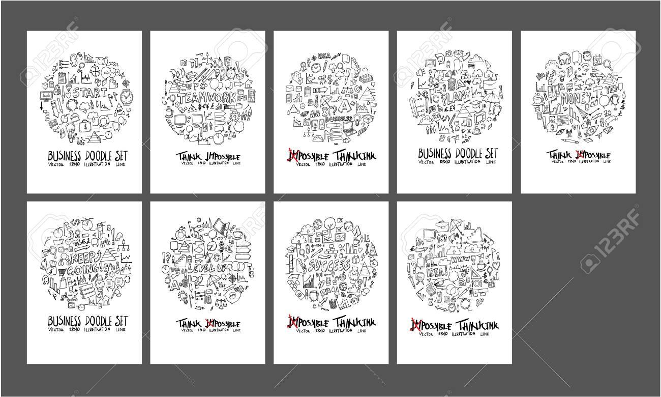 紙壁紙背景線スケッチスタイルセット上のビジネス落書きイラストサークルフォームのイラスト素材 ベクタ Image
