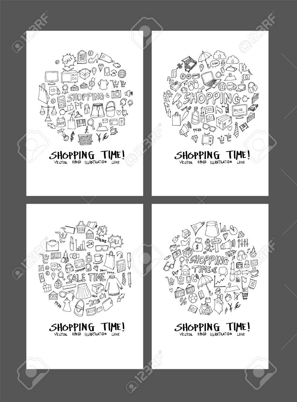紙壁紙背景線スケッチスタイルセットにショッピング落書きイラストサークルフォームのイラスト素材 ベクタ Image