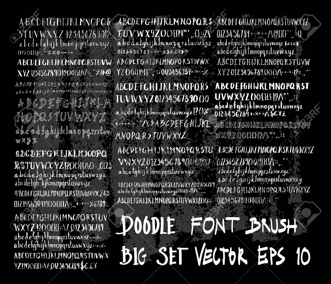 Hand drawn Sketch doodle vector font set on Chalkboard - 102218145