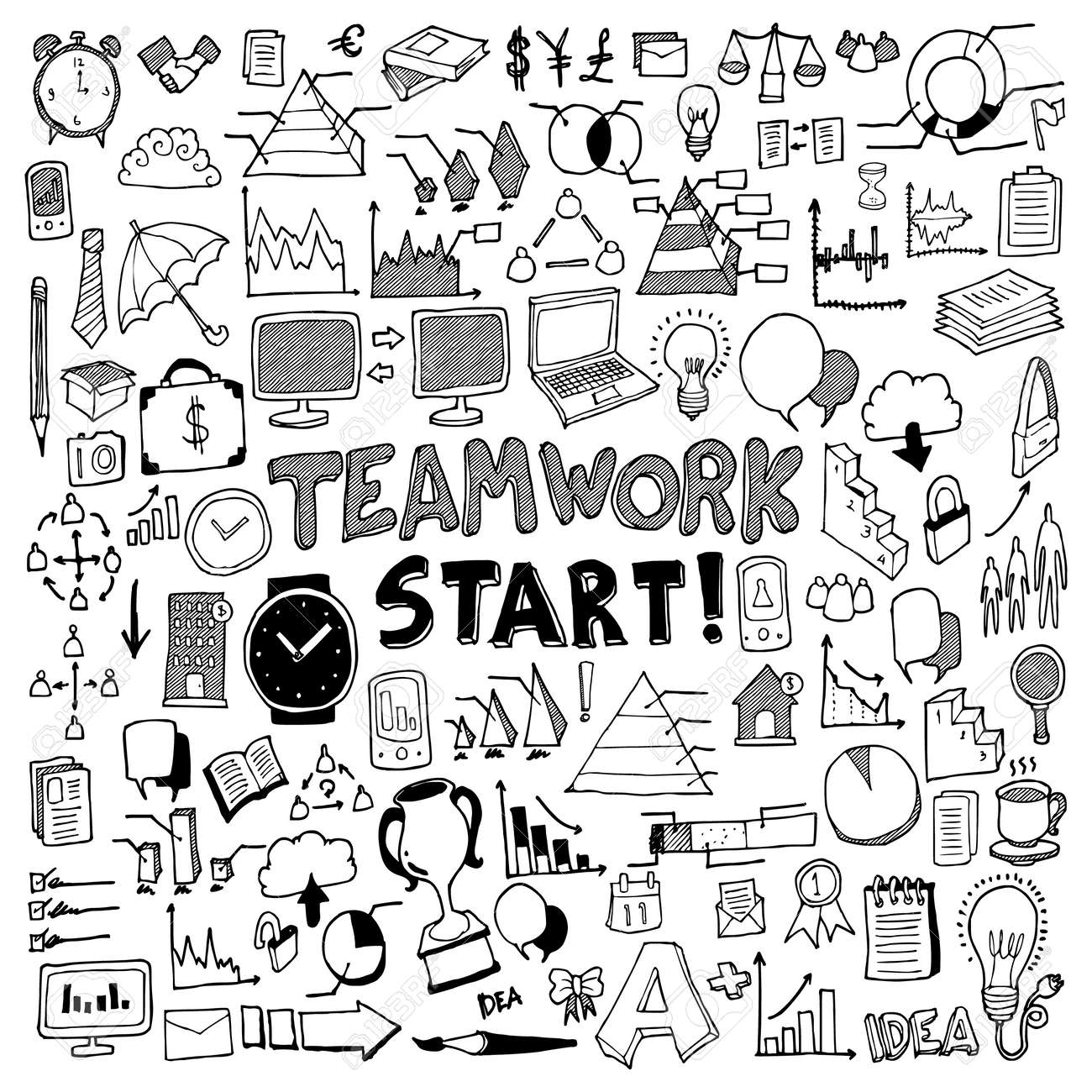 Business doodle set. Drawing vector illustration hand drawn - 143173616