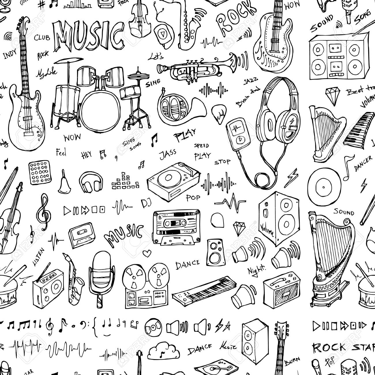 Party doodle background seamless pattern. Drawing vector illustration hand drawn - 144572703