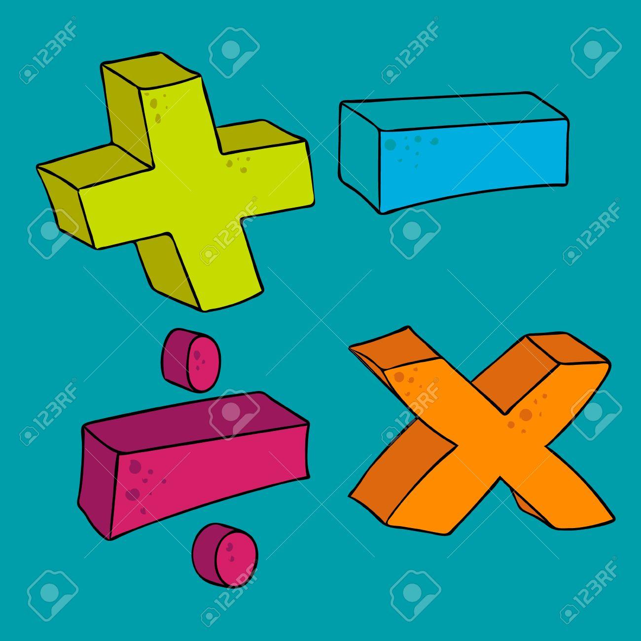 Dibujado A Mano Alzada Simbolos Matematicos De Dibujos Animados Mas