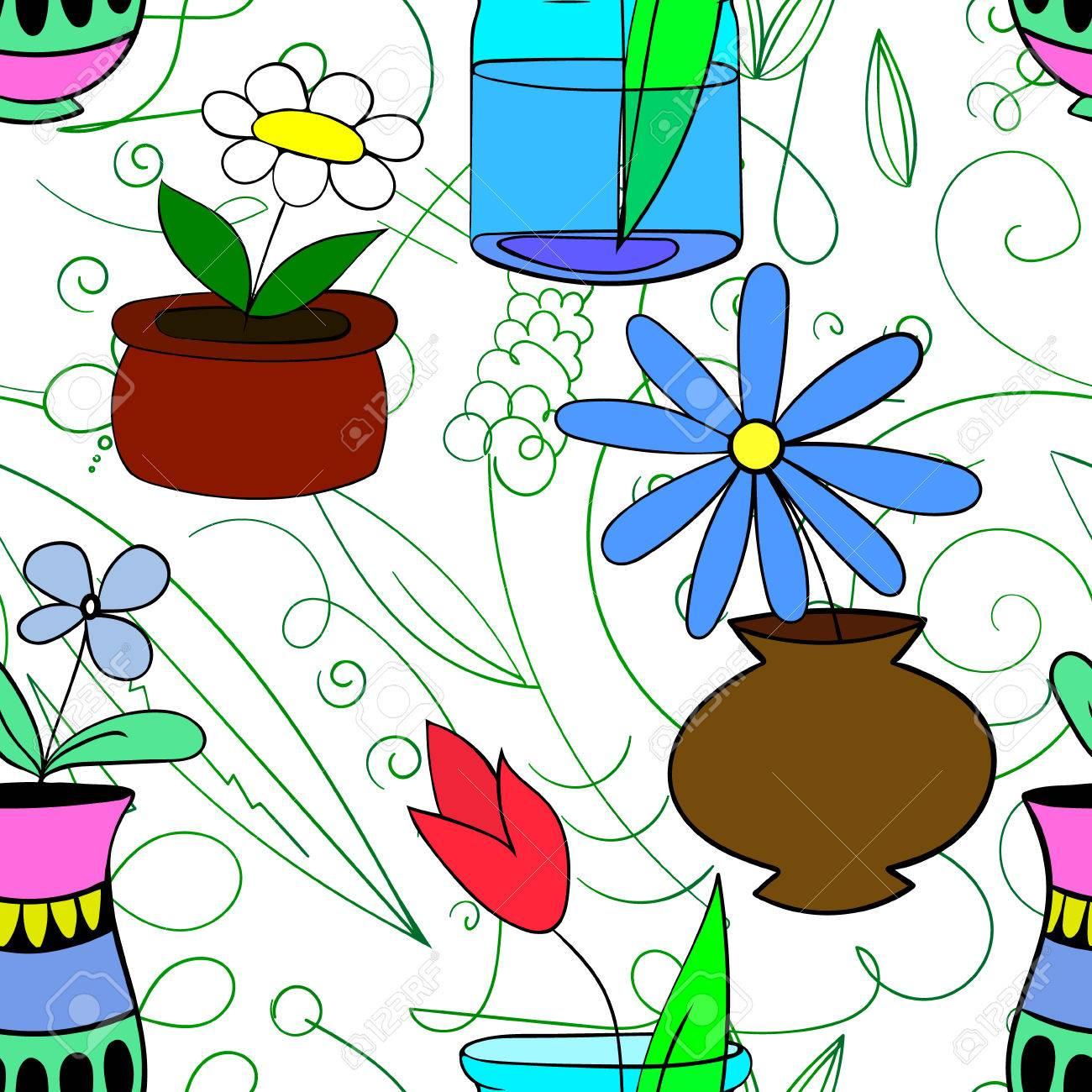 Standard Bild   Topf Pflanzen Nahtlose Muster Vektor Illustration 4 Blumen  In Töpfen Auf Einem Weißen Hintergrund, Handgezeichneten Design Elemente ...