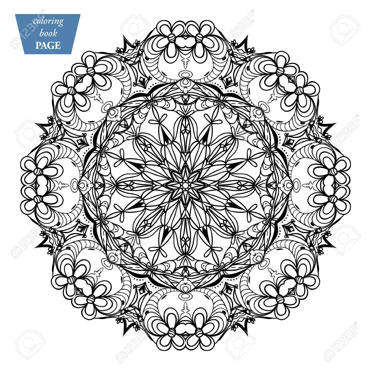 Circular Mandala Coloring Page Vintage Decorative Elements Oriental Pattern Vector Illustrationh
