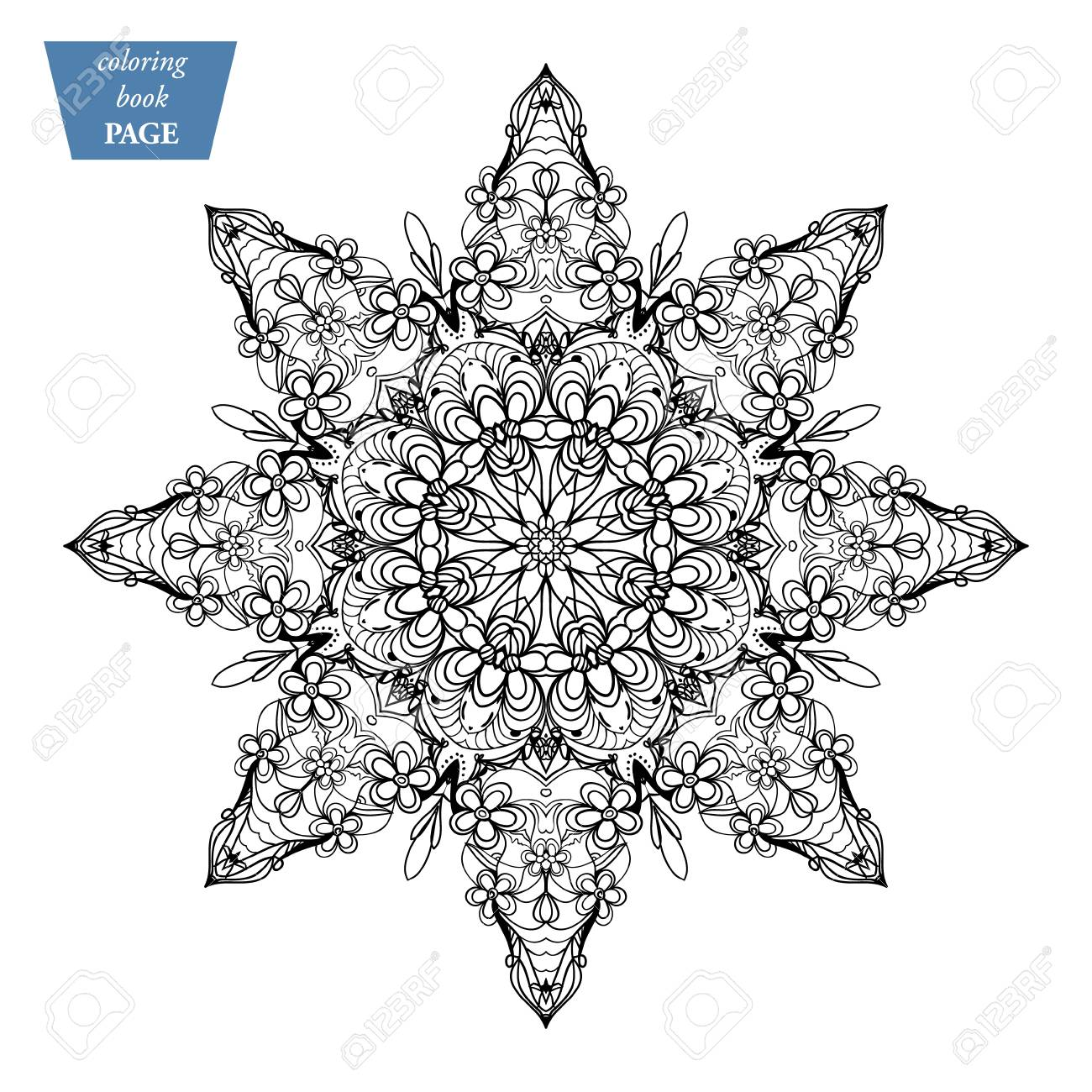 star mandala coloring page vintage decorative elements oriental pattern vector illustration