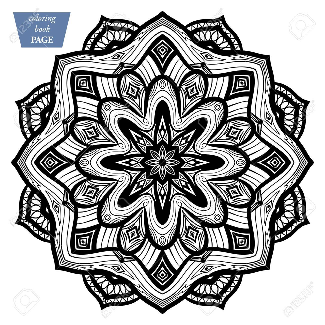Mandala Coloring Page Vintage Decorative Elements Oriental Pattern Vector Illustration H Stock