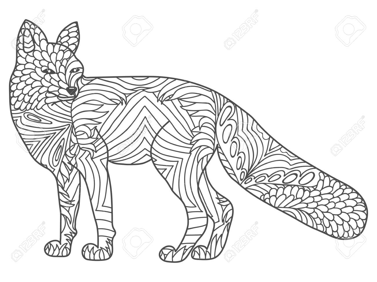 Vector Happy Fox For Adult Anti Stress Coloring Pages Ornamental Royalty Free Cliparts Vectors And Stock Illustration Image 122019559