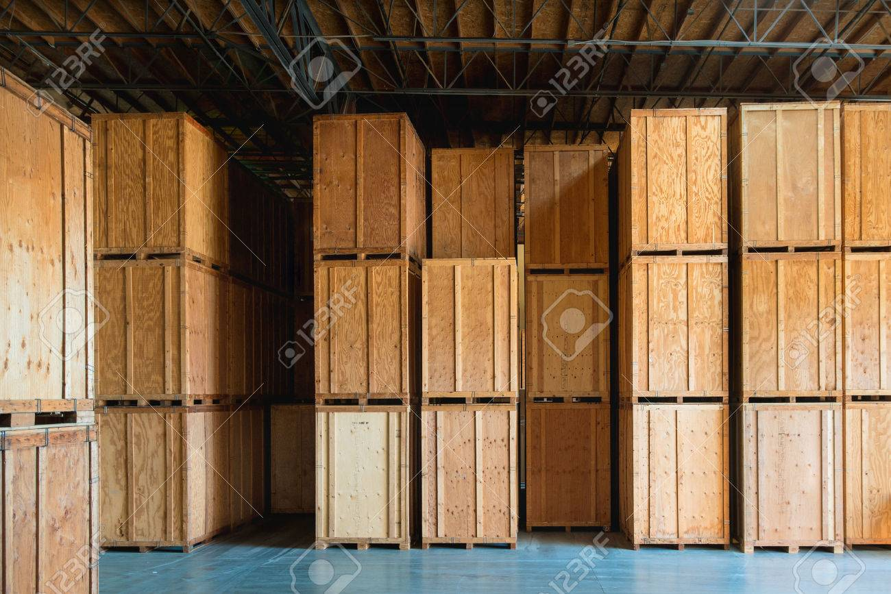Large Wooden Crate Ready For Delivery And Shipping At The Warehouse Stock  Photo   55398160