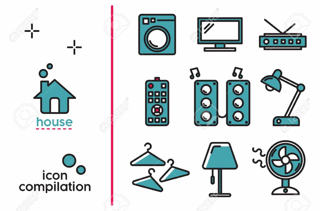 Colored House object interiors icon compilation - 146950400