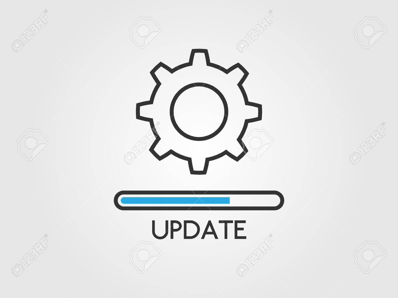 Update software concept. Upgrade system icon. Application status and load progress bar in flat style. Loading process and gears. Updating app design. Vector illustration - 126610927