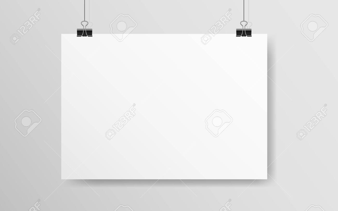 White horizontal poster mockup. Empty A4 paper hanging on a wall. Light blank on a rope. Realistic template with soft shadow. White banner with clips. Vector illustration. - 141190497