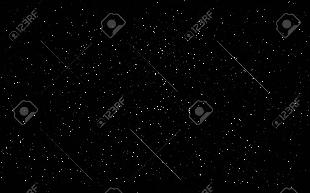 Space background. Dark infinite universe with shining stars and constellations. Starry cosmos. Realistic stardust wallpaper. Black night sky and milky way. Vector illustration. - 144564587