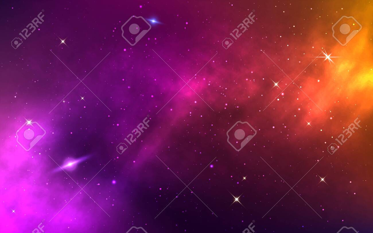 Space Background Yellow Colorful Galaxy Realistic Purple Nebula Royalty Free Cliparts Vectors And Stock Illustration Image 147277838