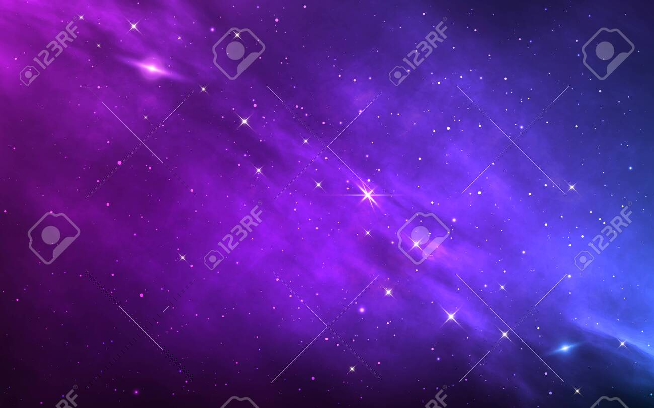 Space background. Color nebula with shining stars. Realistic cosmos with stardust and milky way. Magic starry galaxy. Infinite universe with constellations. Vector illustration - 156135777