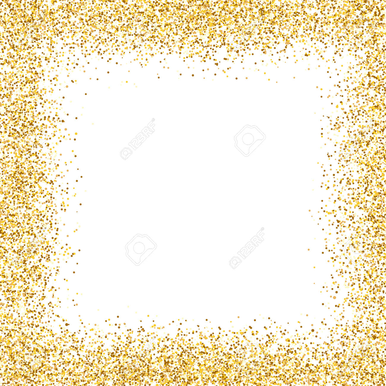 Glitter gold frame on white background. Golden border design. Luxury greeting card template. Shining confetti particles. Bright dust decoration. Vector illustration - 159855909