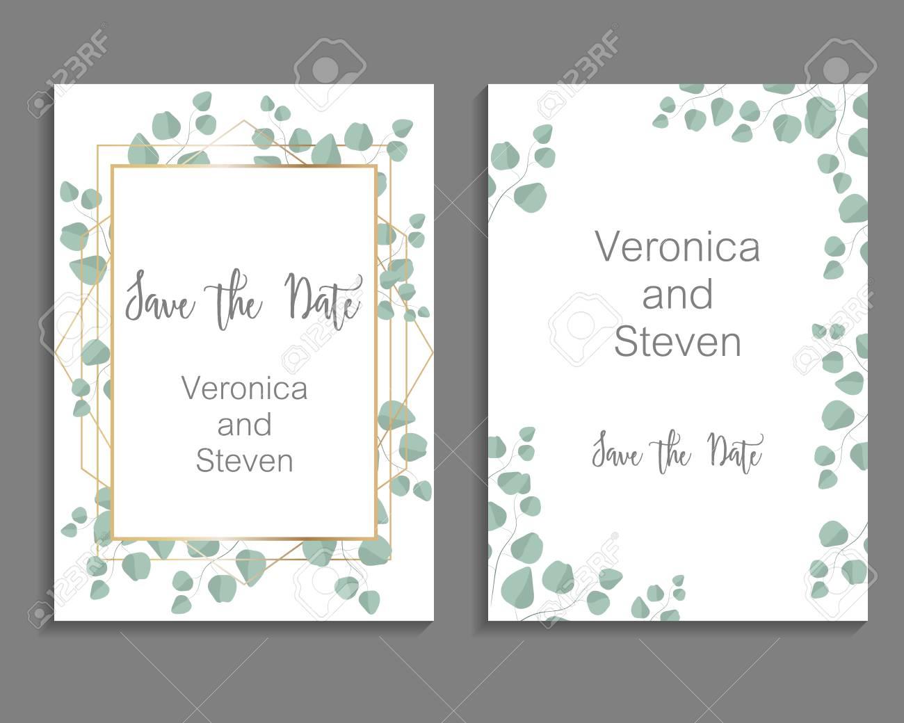 Wedding Invitation, leaves invite card. Design with eucalyptus branch - 97526342