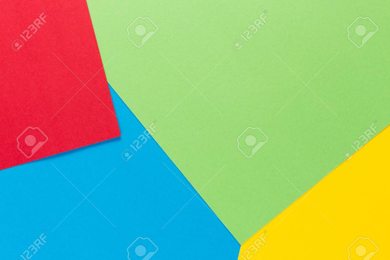 Color Papers Geometry Flat Composition Background With Blue Yellow ...