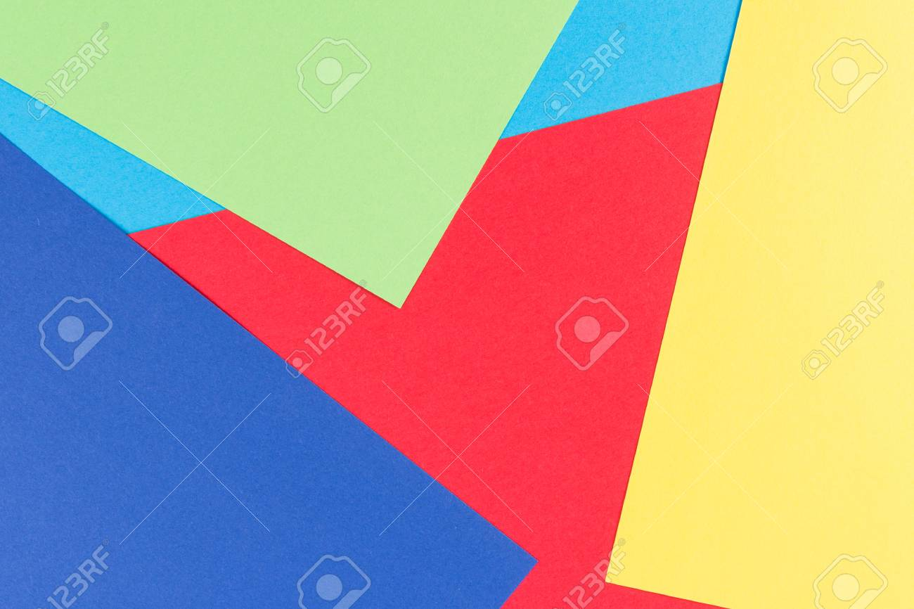 Color Papers Geometry Flat Composition Background With Yellow ...