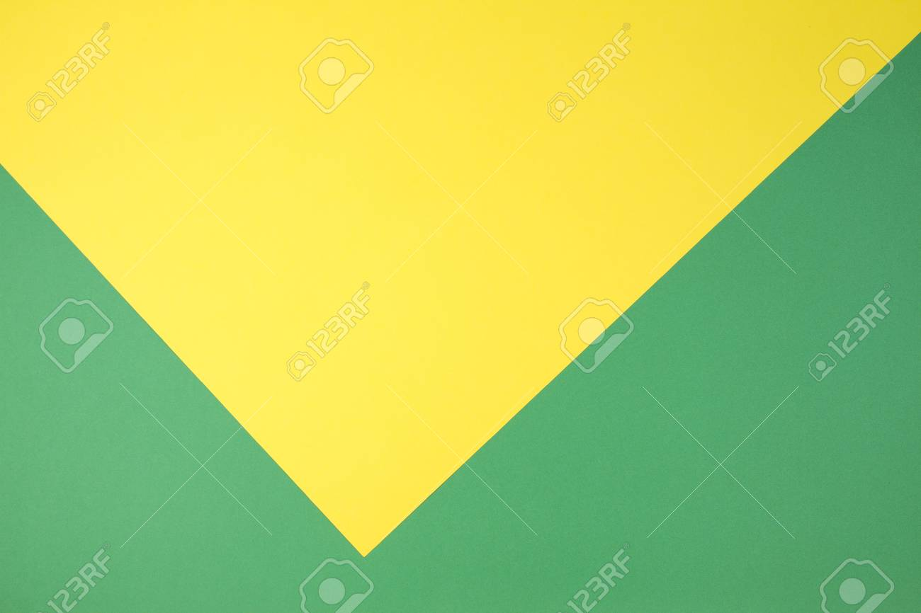 Yellow And Green Color Papers Geometry Flat Composition Background ...
