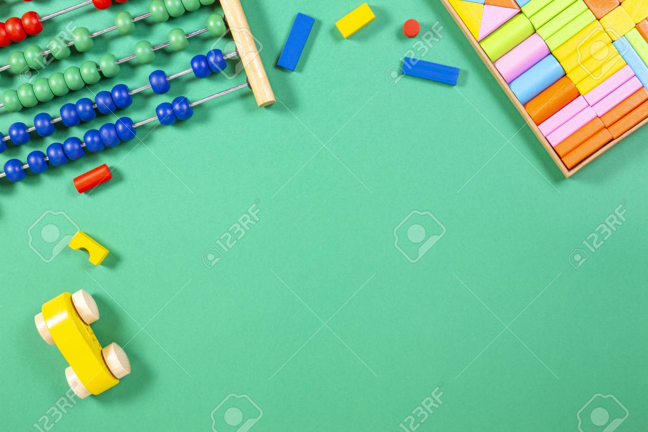 Kids Toys Background With Abacus Toy Car And Wooden Cubes Stock