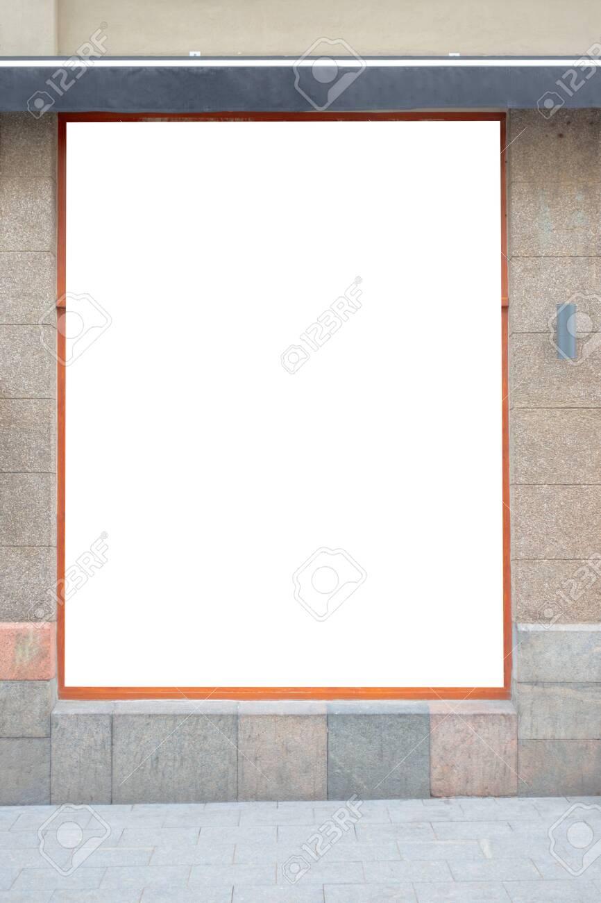 Mock up. Blank advertising billboard, signboard, store showcase window on the wall - 120722310
