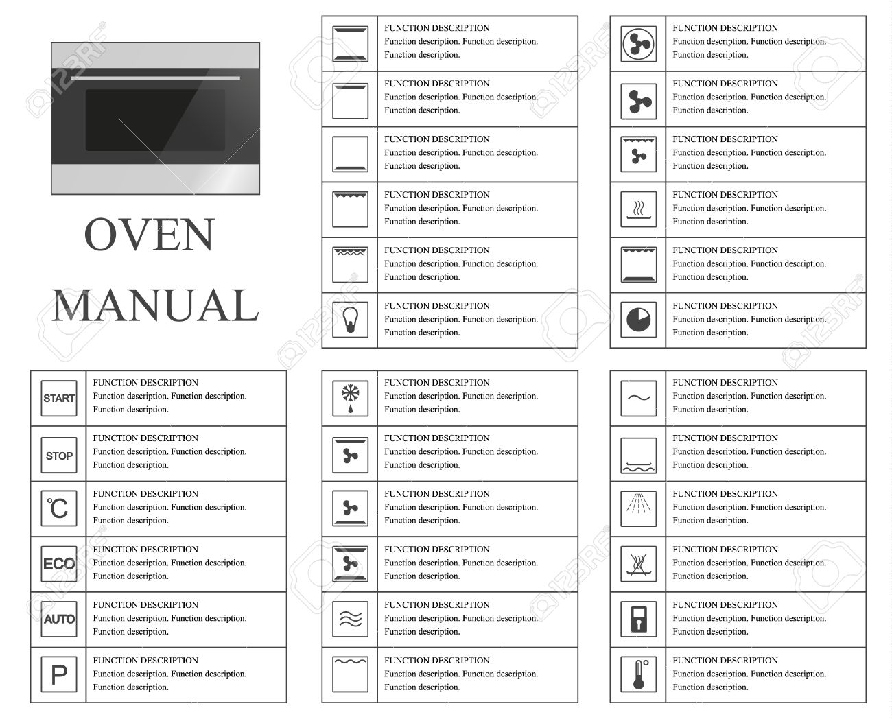 oven manual symbols instructions signs and symbols for oven rh 123rf com Bosch Oven Manual PDF Bosch Oven Manual PDF