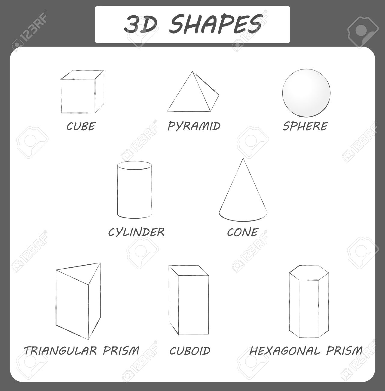 Vector 3d Shapescational Poster For Children Set Of 3d Shapes