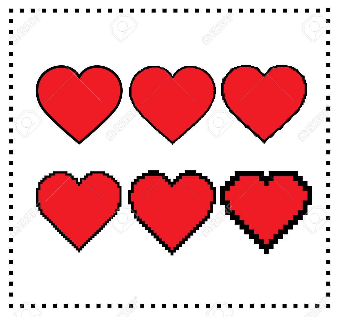 Coeurs Dart De Pixel Différent Taille De Pixel Grand Coeur De Pixel Petit Coeur De Pixel élément Graphique De Mouvement Coeurs De Pixel