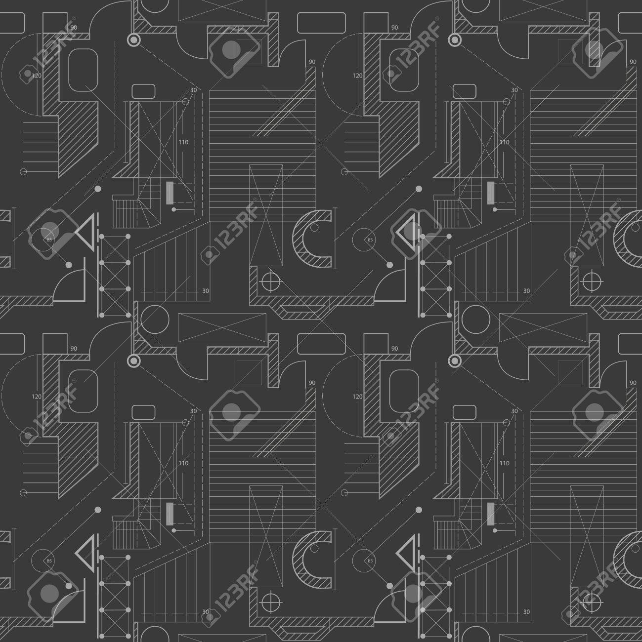 Architecture Scheme Background Seamless Pattern Of Abstract
