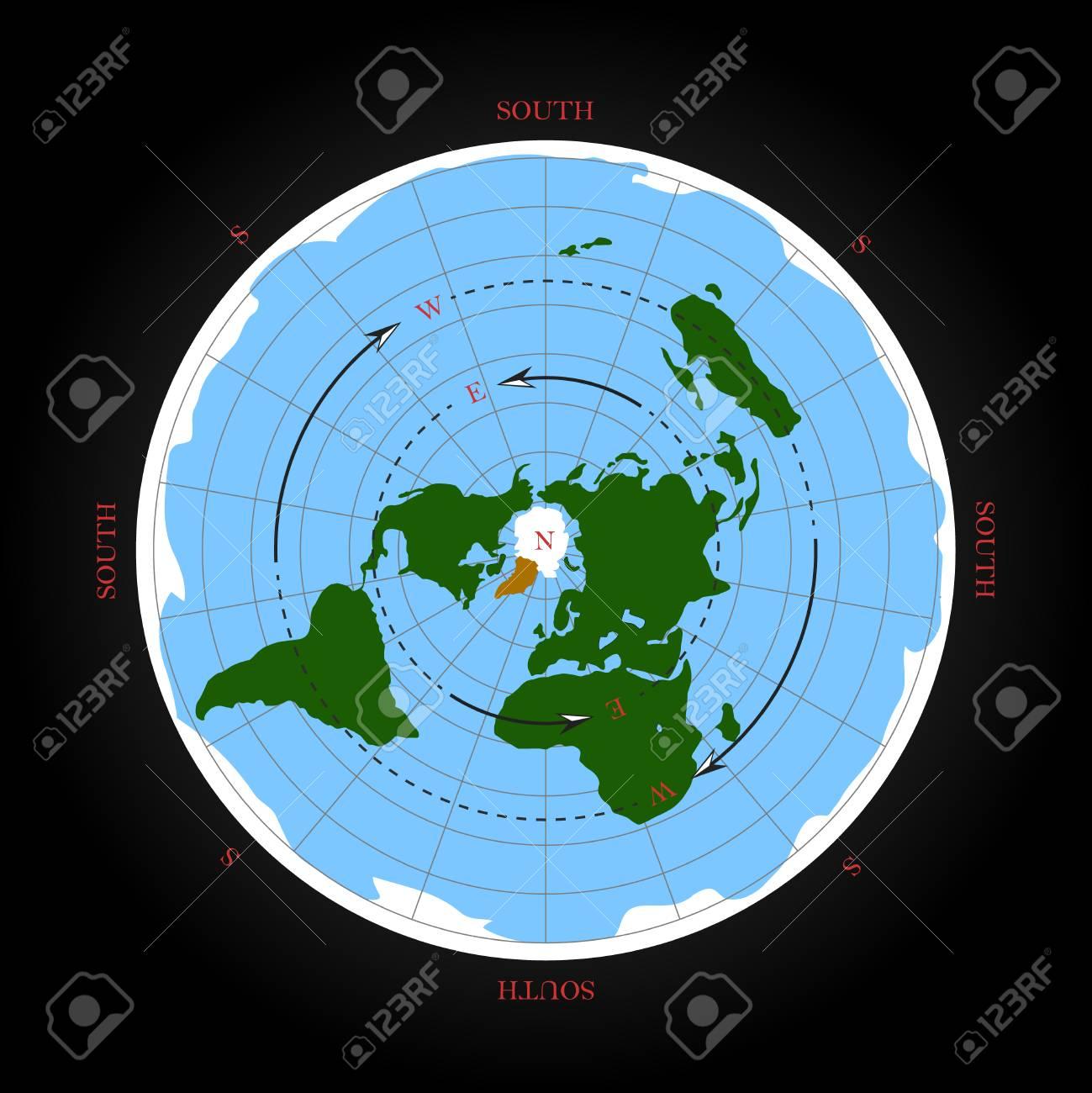 carte de la terre plate Direction Cardinale Sur La Carte De La Terre Plate. Illustration