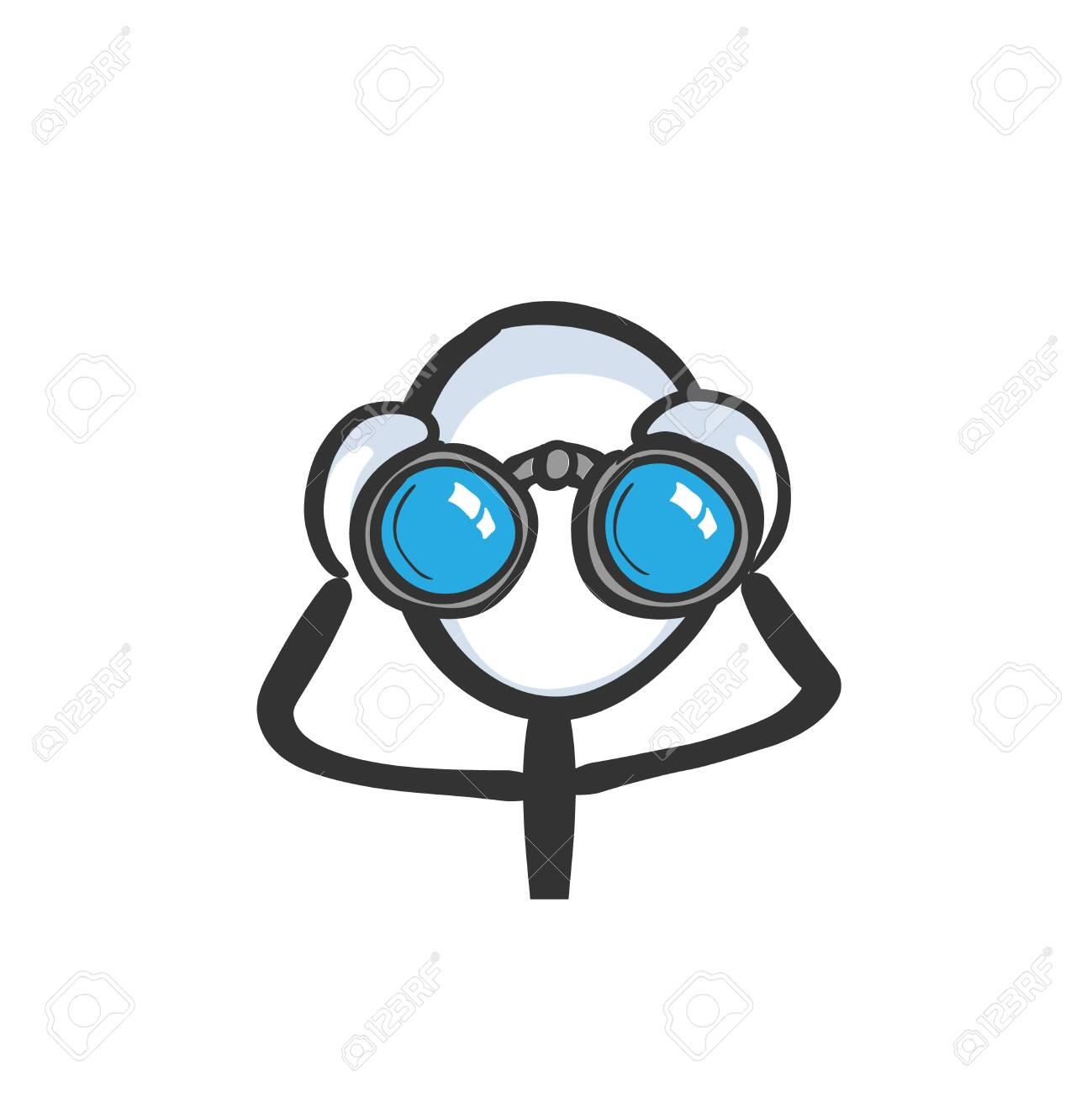 Looking into binoculars. Man spying. Looking far. Hand drawn. Stickman cartoon. Doodle sketch, Vector graphic illustration binoculars - 142278829