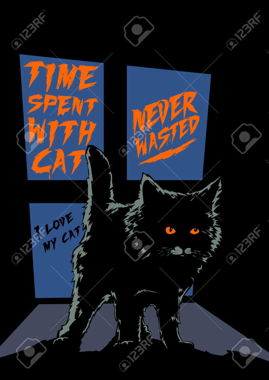 cat qoutes typography scary halloween illustration - 156921792