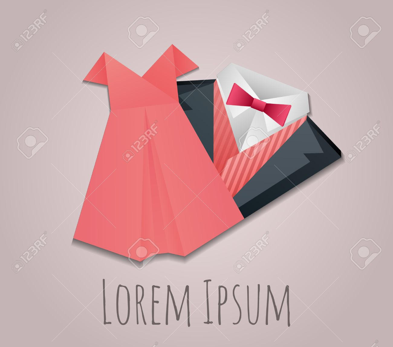 Illustration Of Origami Mens Suit And Lady Dress For Logos Your Design Stock Vector