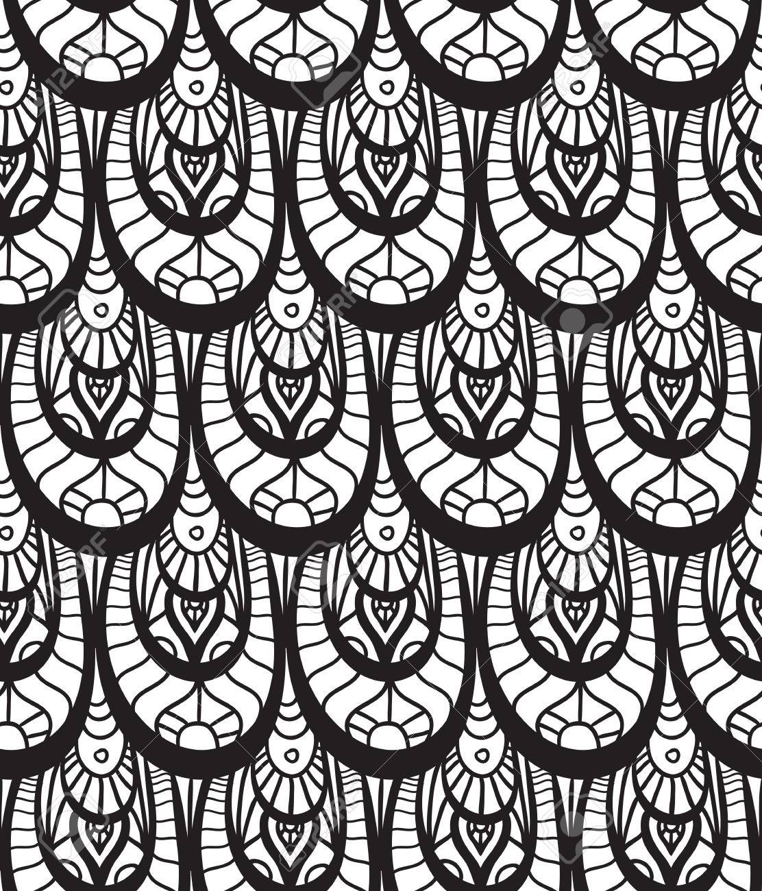 Seamless black and white texture with fish scales decorated with doodle pattern for your creativity - 49409620