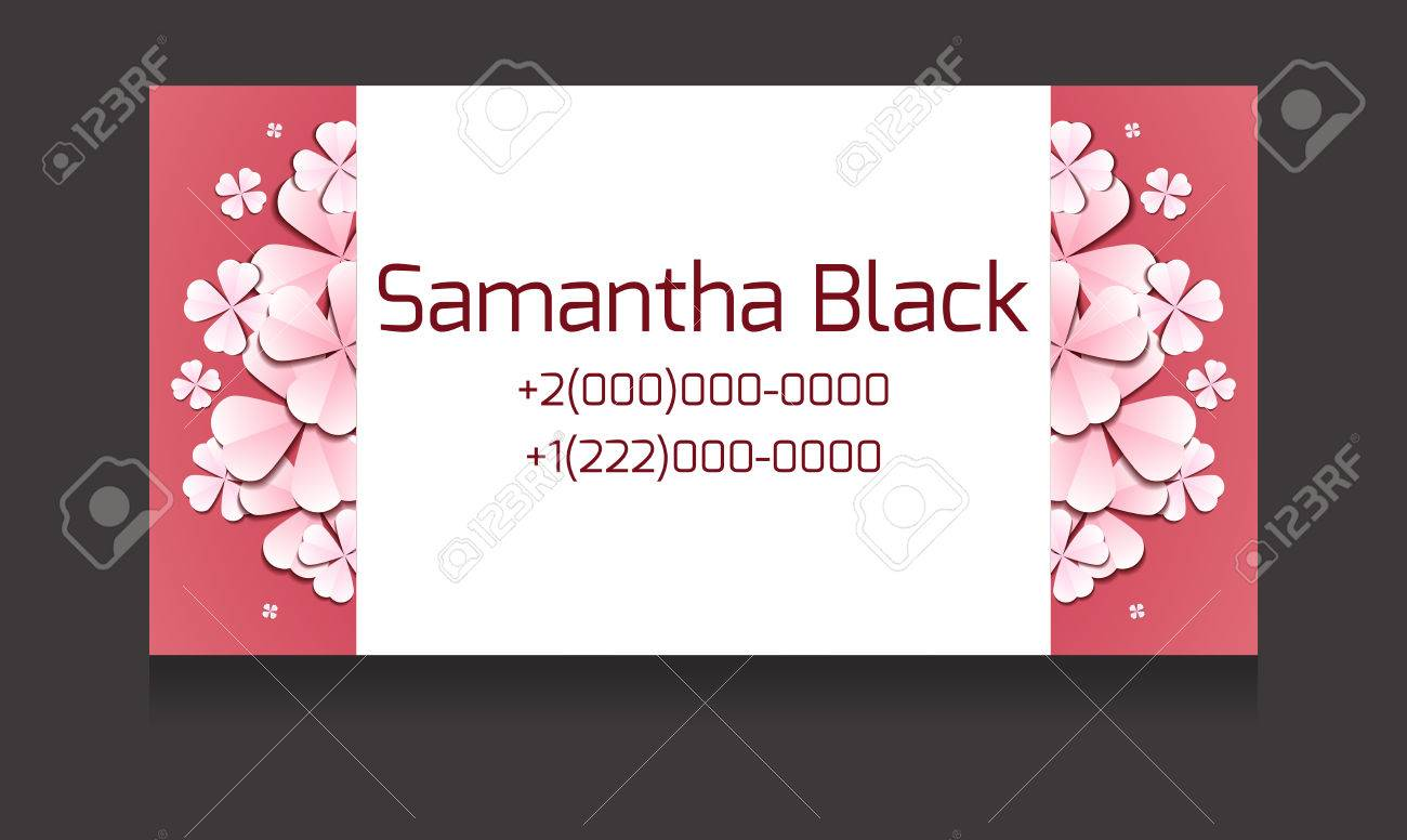 Gentle Vector Business Card Templates With Paper Flowers And ...