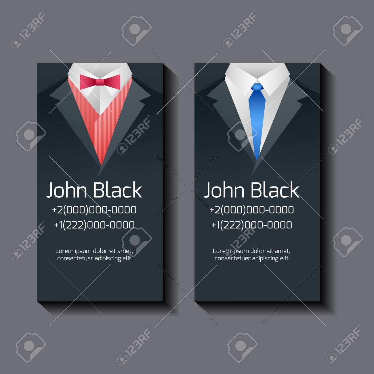 Set Of Vector Business Card Templates With Men\'s Suits And Place ...