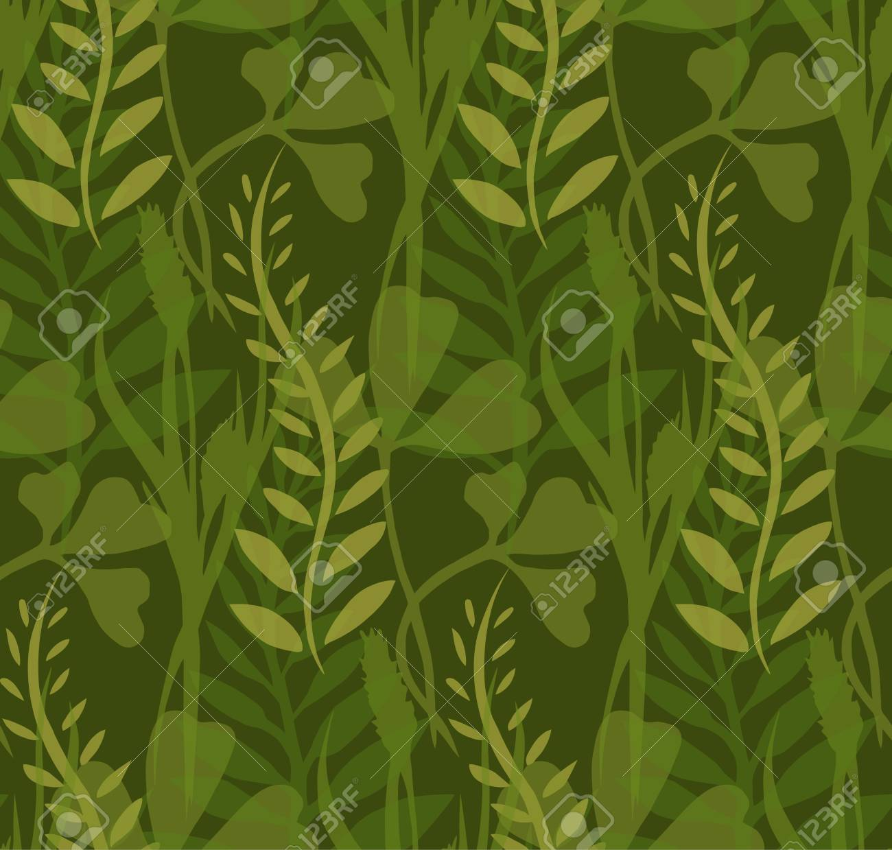 Seamless texture with transparent plants and herbs for your creativity