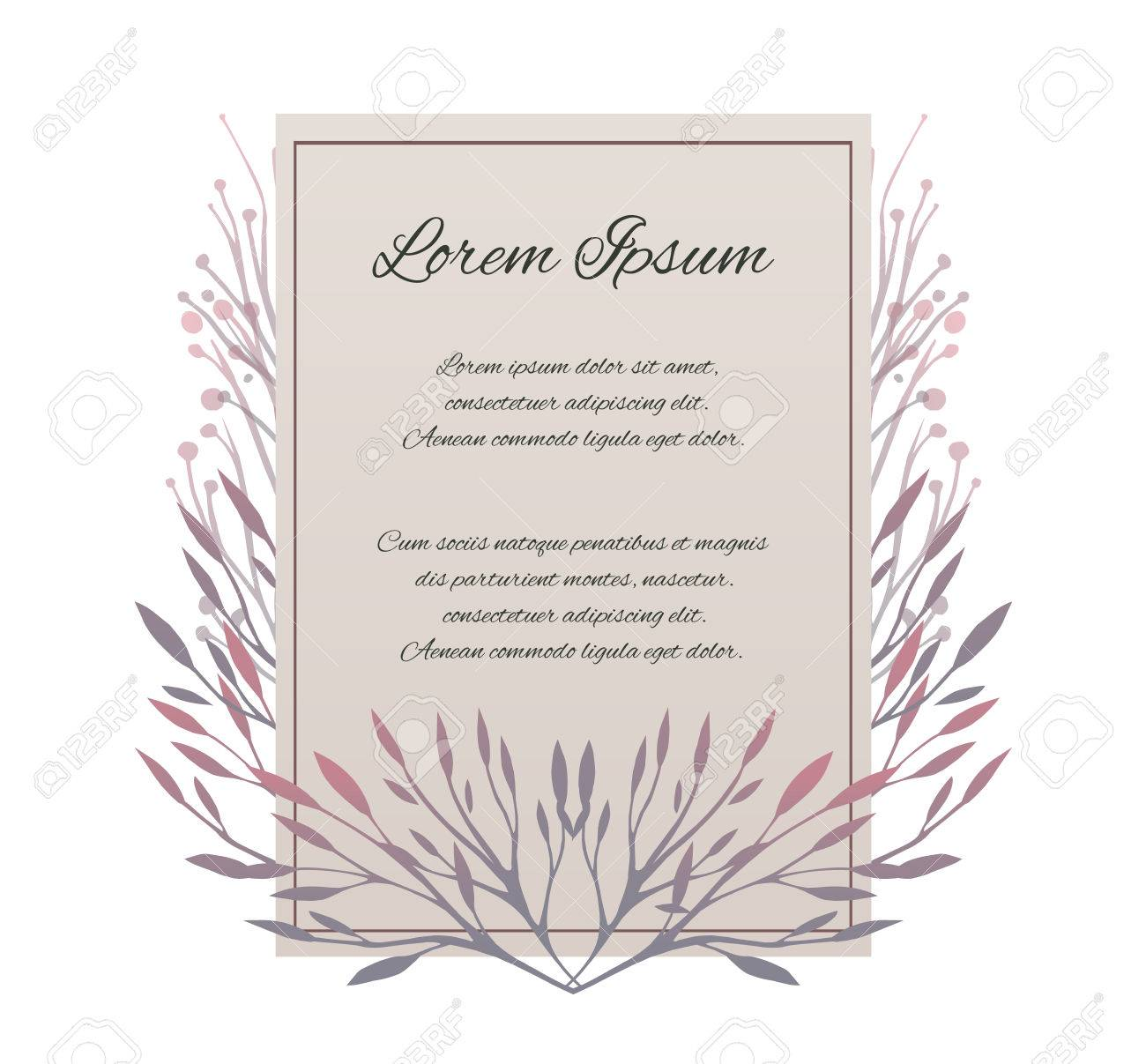 Vector card with place for your texte letter of thanks vector vector card with place for your texte letter of thanks invitation with tender plants stopboris Choice Image