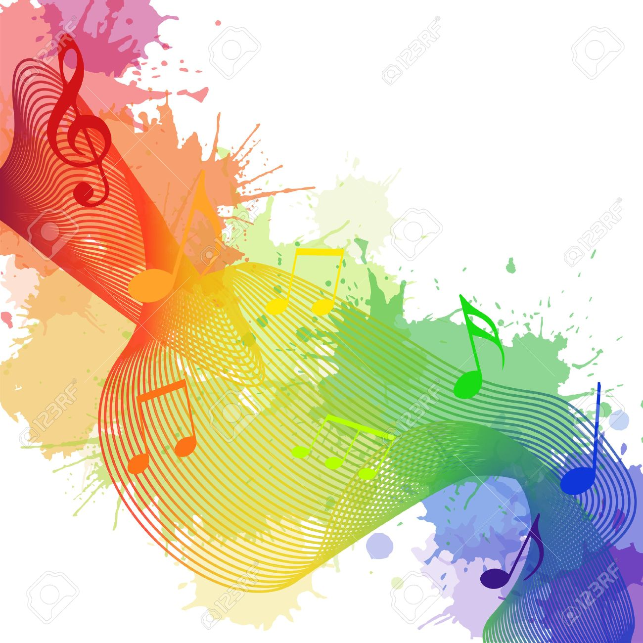 Illustration with rainbow musical notes, waves and watercolor splashes for your creativity - 51565744