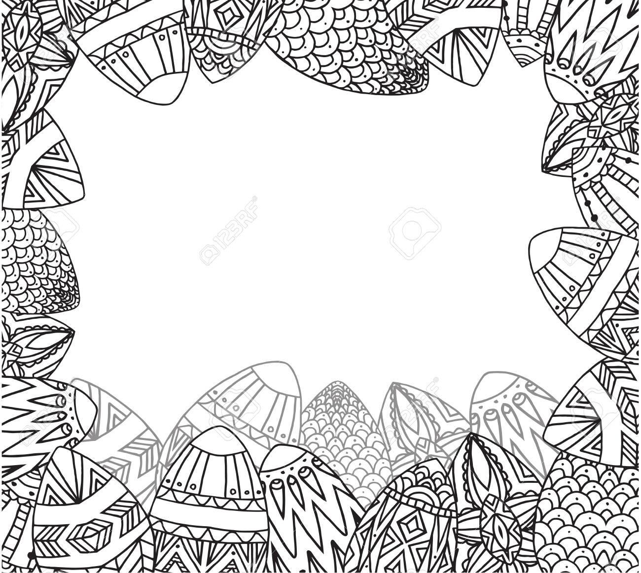 Greeting Card With Doodle Festive Eggs With Boho Pattern And
