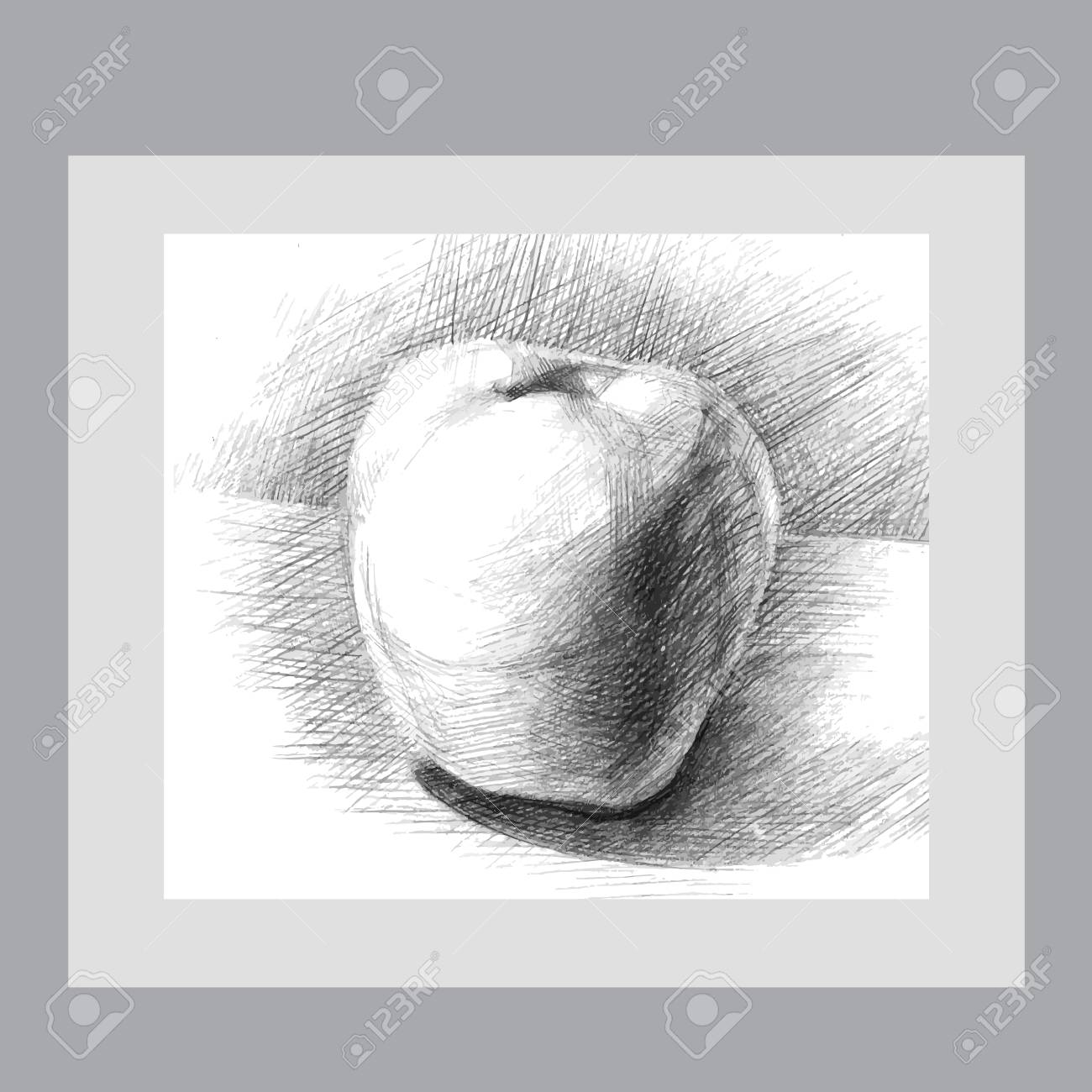 Illustration with a pencil sketch apple for your creativity
