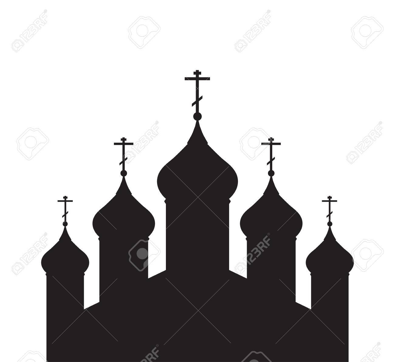 Vector Illustration With A Silhouette Of The Orthodox Church