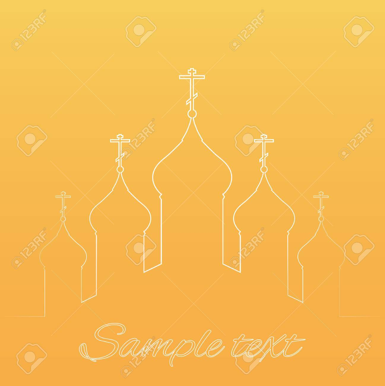 Vector Illustration With The Contours Of The Orthodox Church