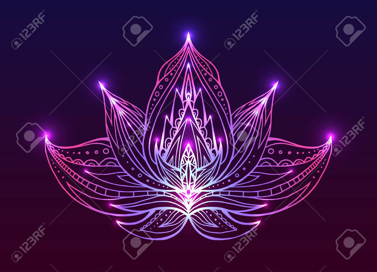 Outline Lotus with boho pattern and bright spark. Vector element for spa centers, yoga studios. Hand drawn. Doodle elements for your design - 54332247