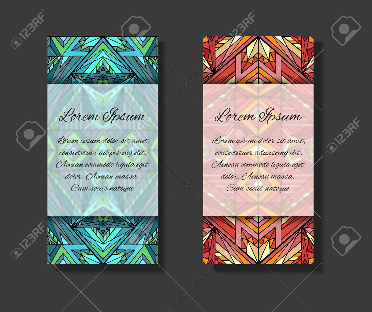 Set Of Templates With Ethno Pattern And Place For Text. Template ...