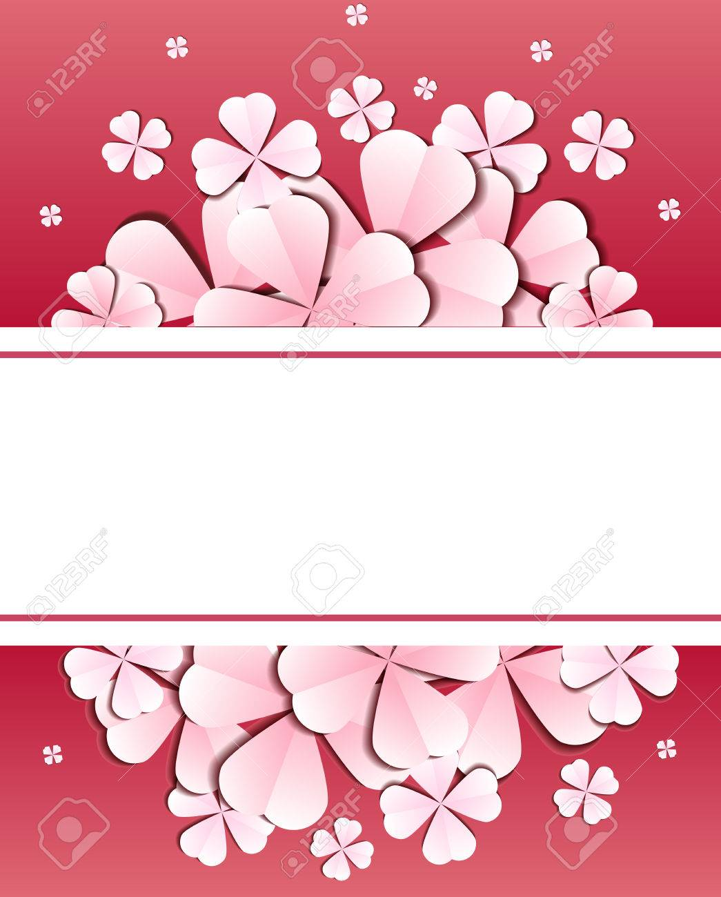 Delicate Template Of Rectangular Frame With Paper Flowers And